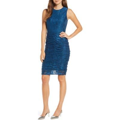 Petite Eliza J Ruched Lace Body-Con Dress, Blue