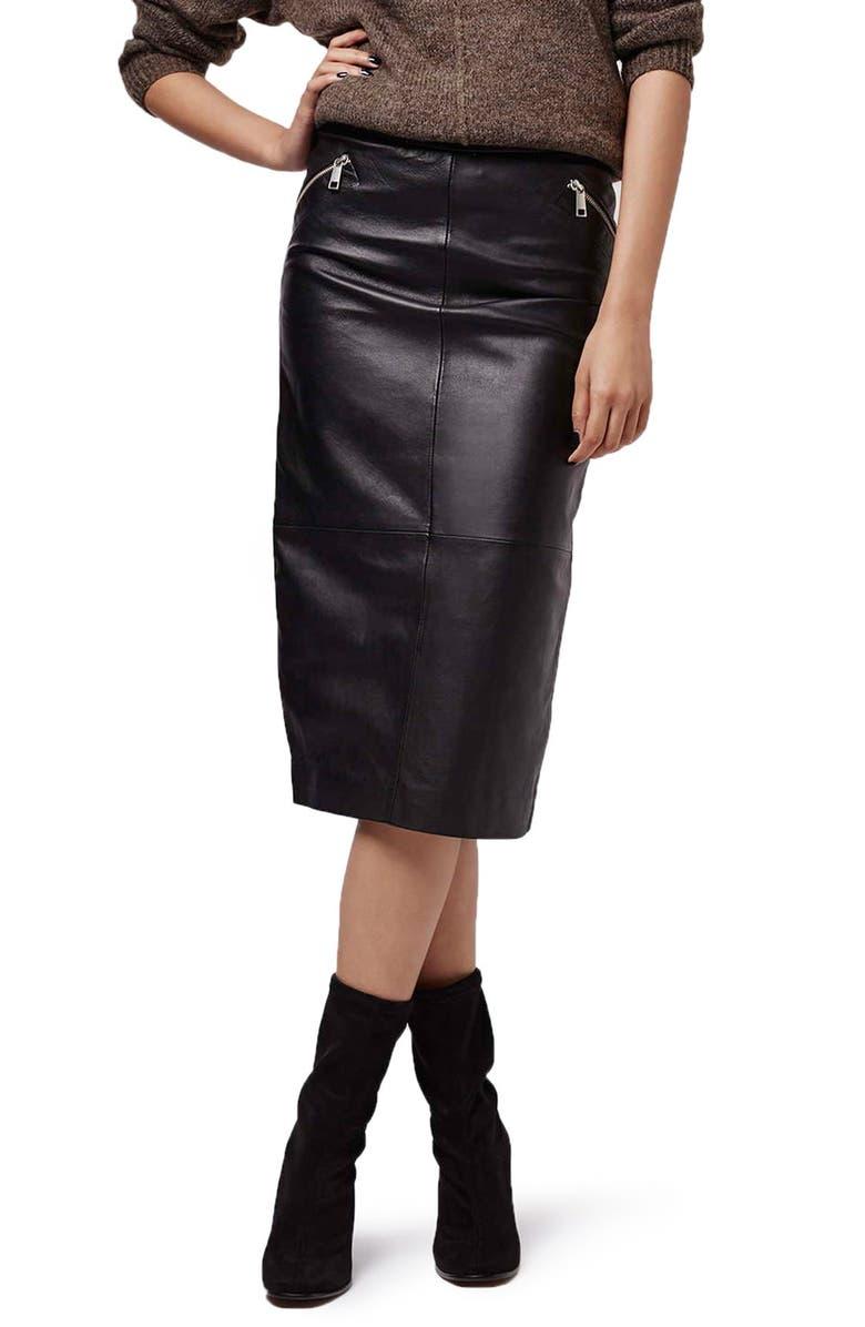 TOPSHOP Leather Midi Skirt, Main, color, 001