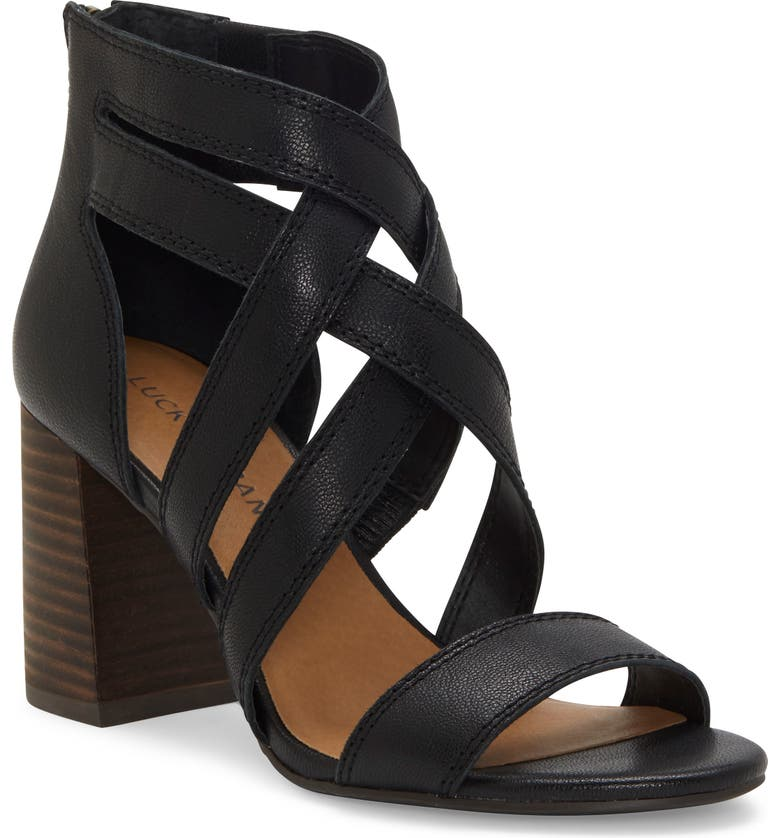 LUCKY BRAND Vrah Cage Sandal, Main, color, BLACK LEATHER