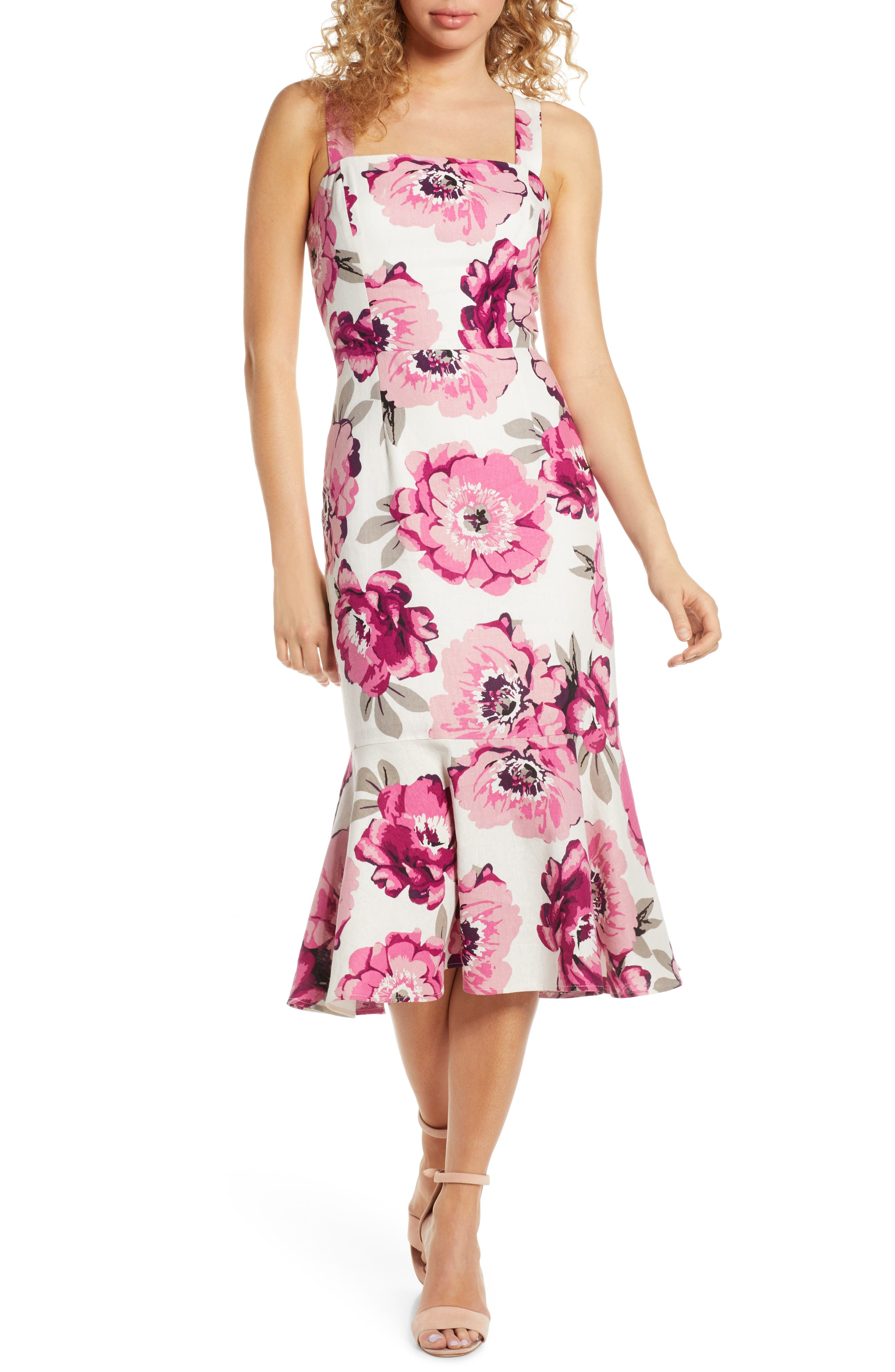 Charles Henry Floral Linen Blend Midi Sundress, Pink