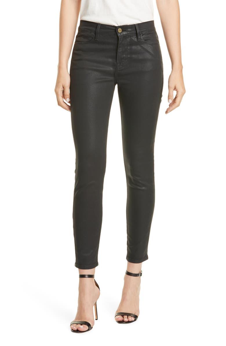 FRAME Le High Waist Coated Skinny Jeans, Main, color, NOIR COATED