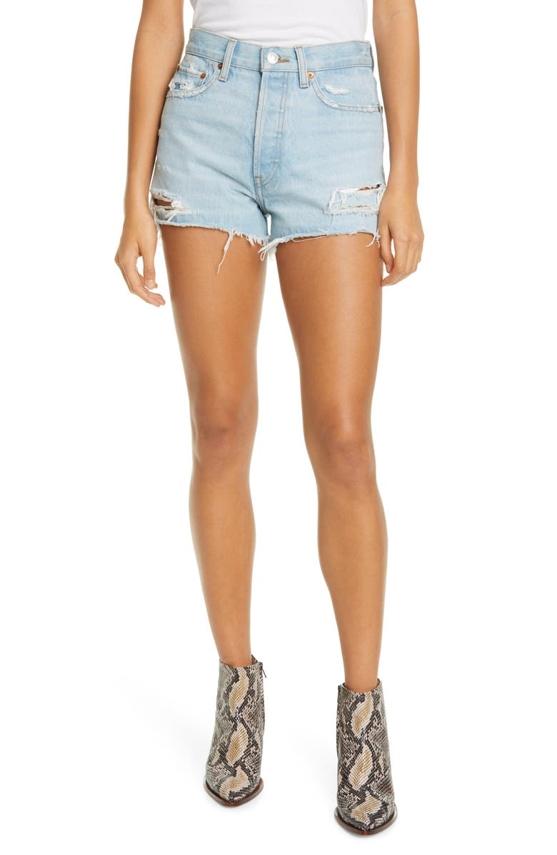RE/DONE '70s Ripped High Waist Cutoff Denim Shorts, Main, color, LIGHT WORN 10