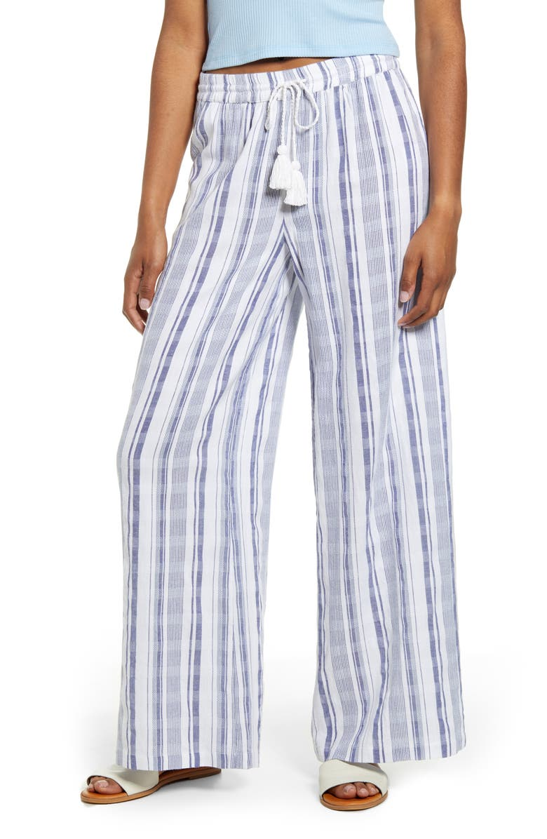 VOLCOM Sun Spell Cotton & Linen Pants, Main, color, STRIPE