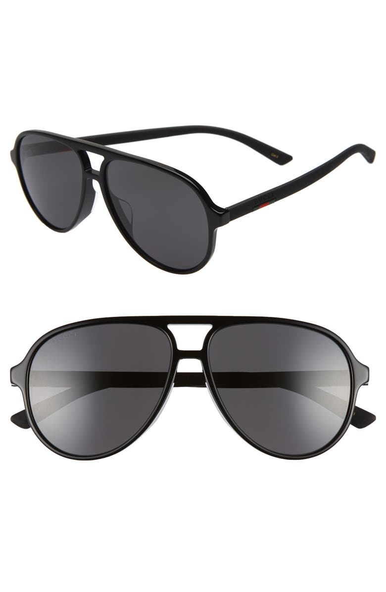 GUCCI 60mm Aviator Sunglasses, Main, color, BLACK