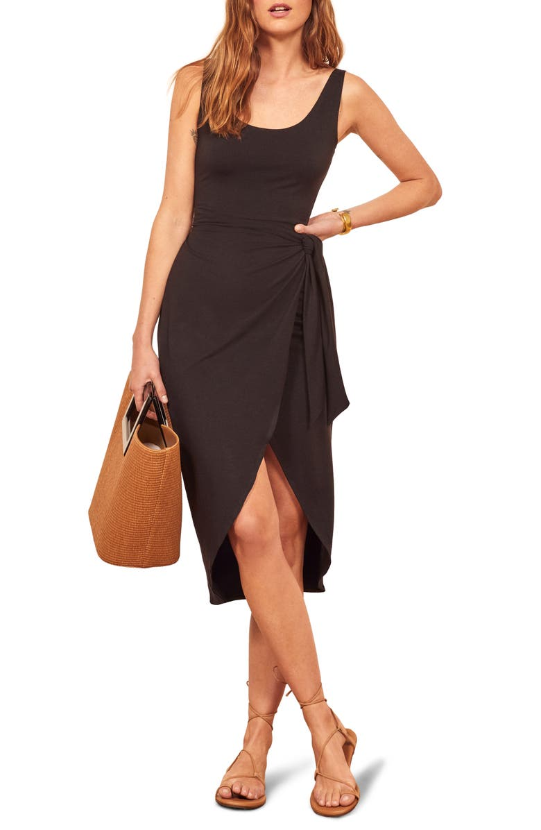 REFORMATION Kaila Wrap Style Jersey Dress, Main, color, BLACK