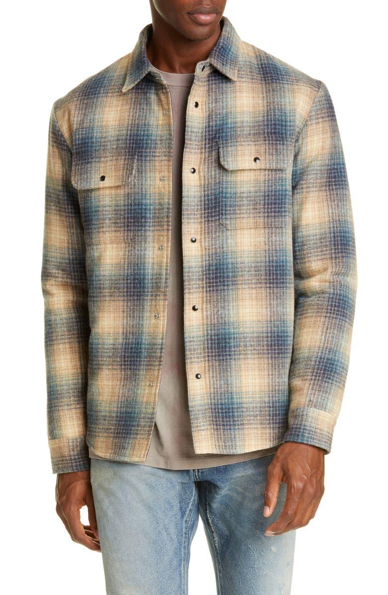 JOHN ELLIOTT Jupiter Plaid Snap-Up Wool Blend Shirt, Main, color, BROWN