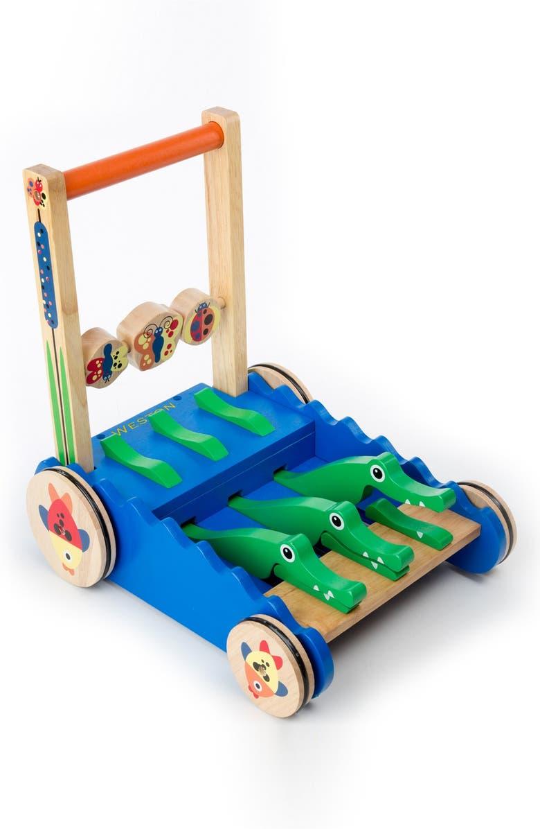 MELISSA & DOUG 'Chomp & Clack' Personalized Alligator Push Toy, Main, color, BLUE