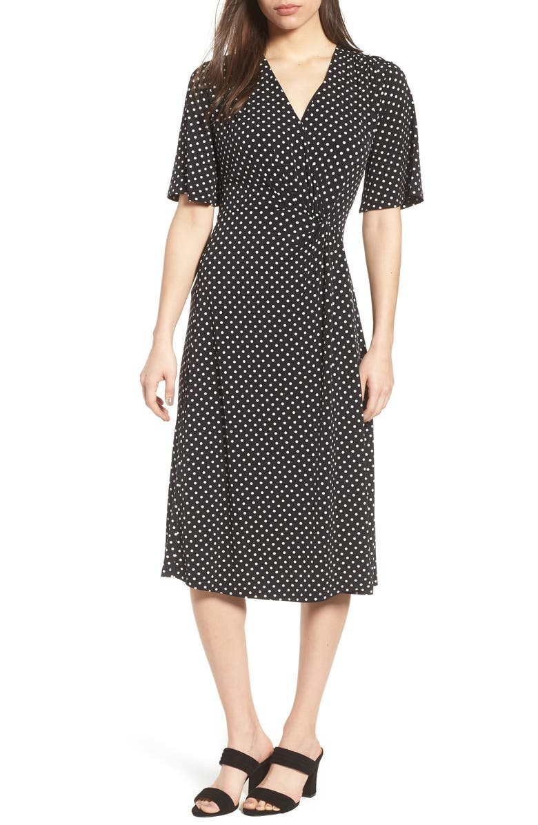 CHAUS Flutter Sleeve Polka Dot Dress, Main, color, 001