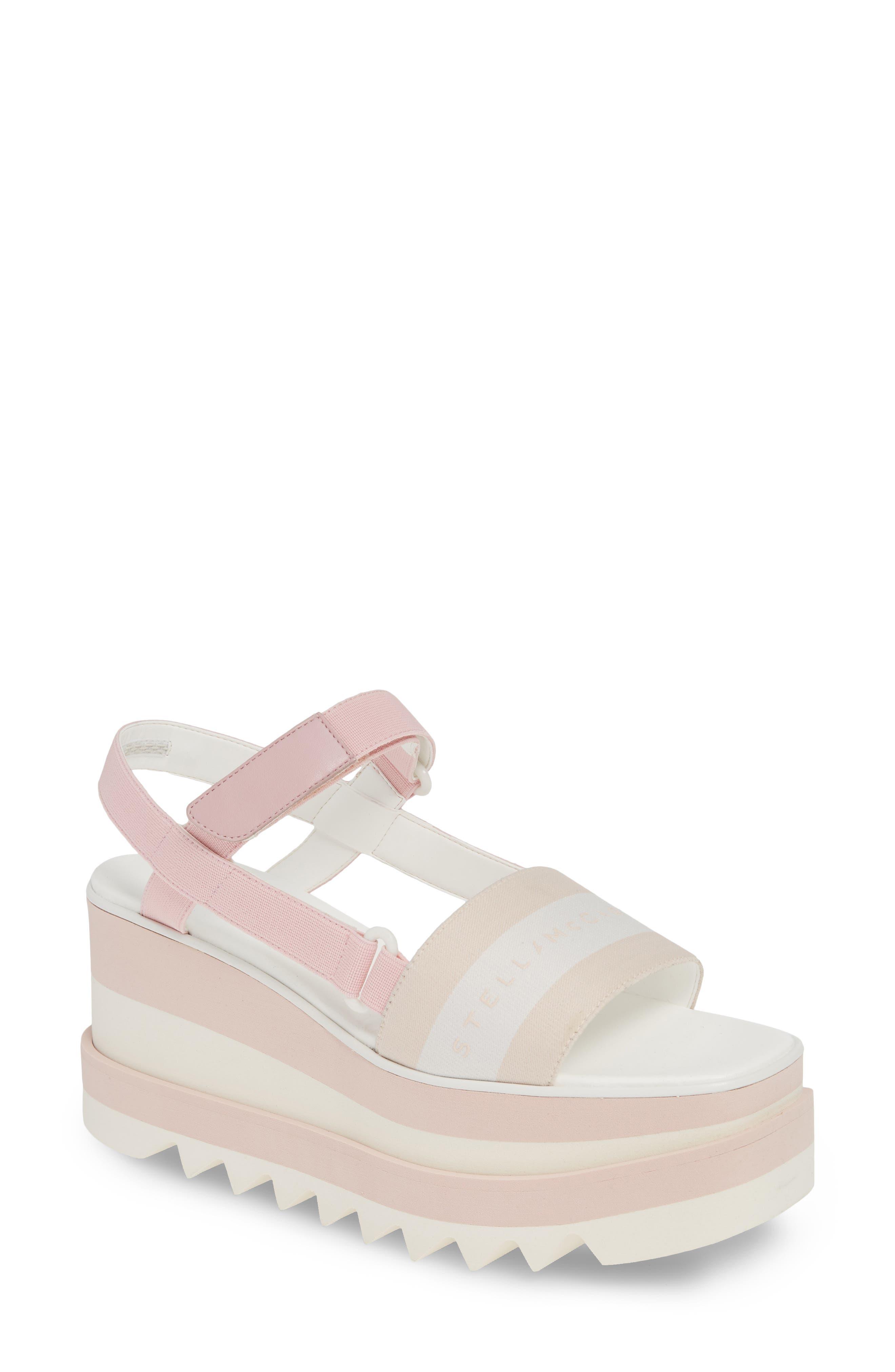 Stella Mccartney Stripe Logo Platform Sandal, Pink