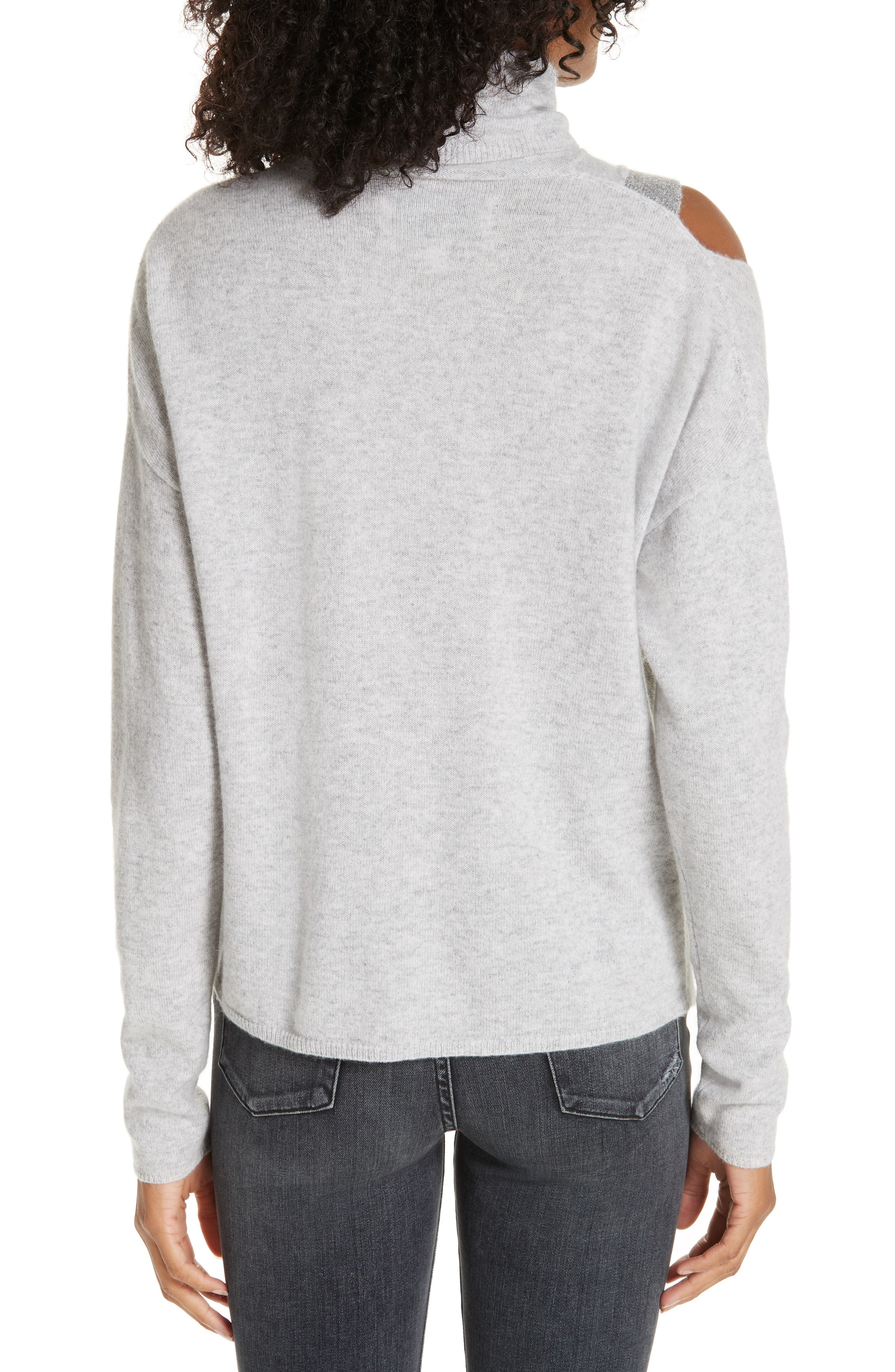 ,                             Fae Cold Shoulder Asymmetrical Cashmere Blend Sweater,                             Alternate thumbnail 2, color,                             ARCTIC GREY COMBO