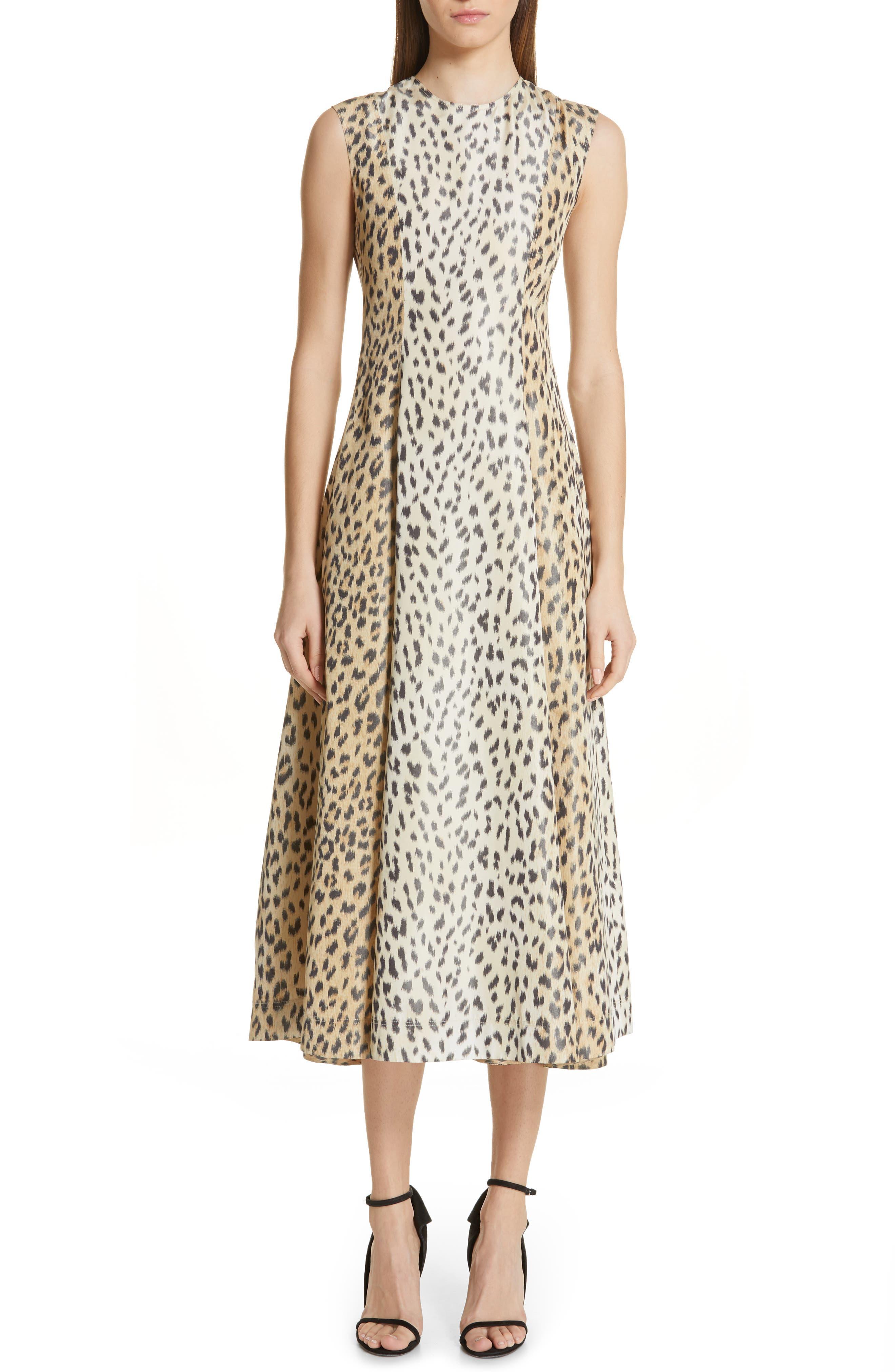 Calvin Klein 205W39Nyc Leopard Print Silk Twill Midi Dress, US / 40 IT - Beige