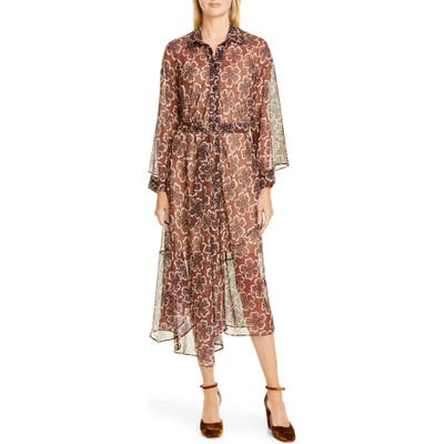 Rachel Comey Braden Floral Long Sleeve Midi Dress, Brown