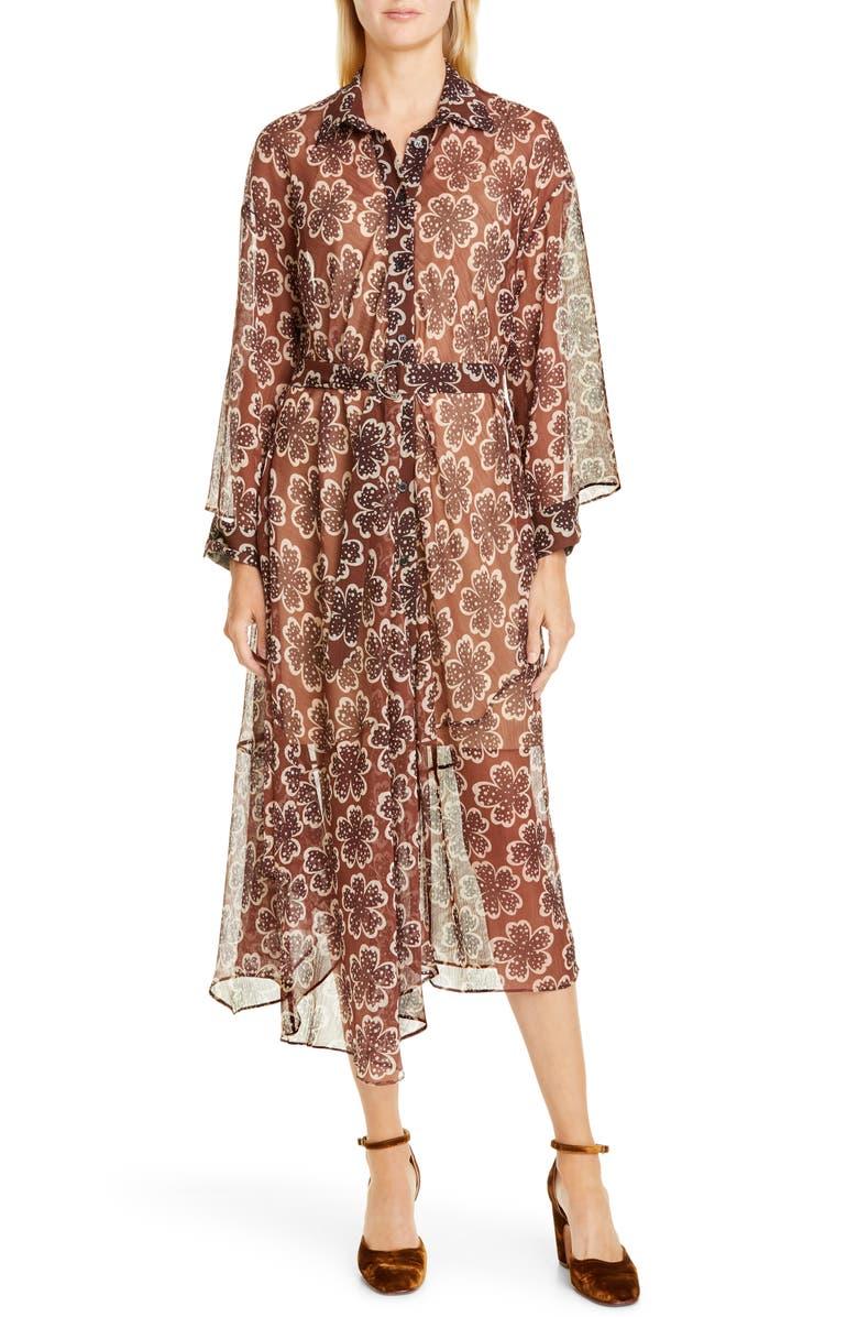 RACHEL COMEY Braden Floral Long Sleeve Midi Dress, Main, color, BROWN