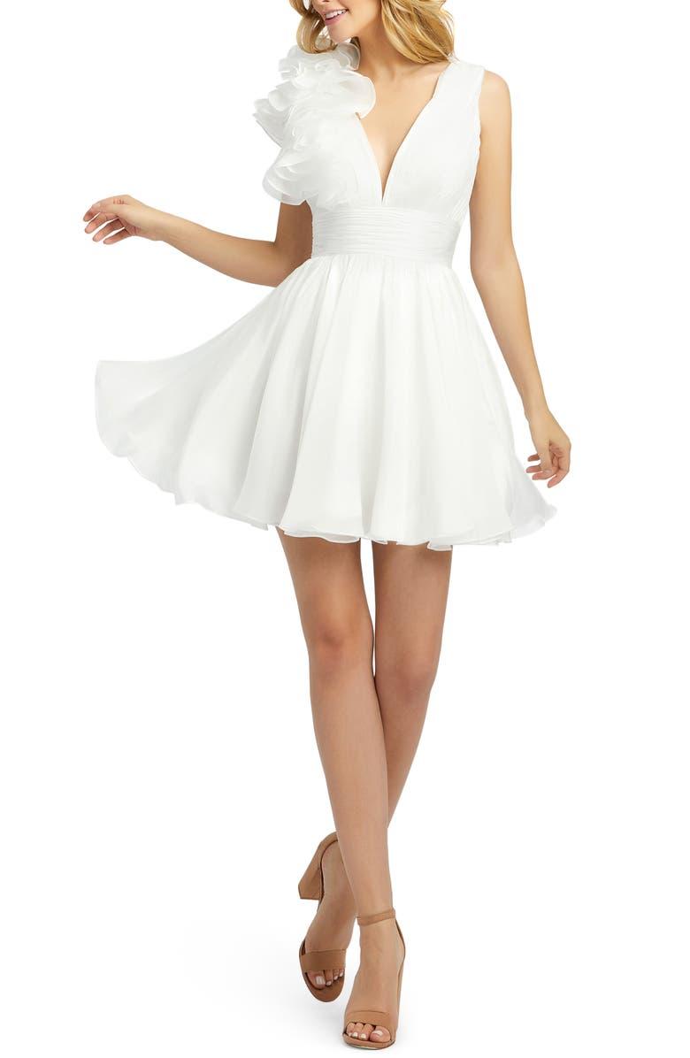 MAC DUGGAL Corsage Detail Shirred Skater Dress, Main, color, WHITE