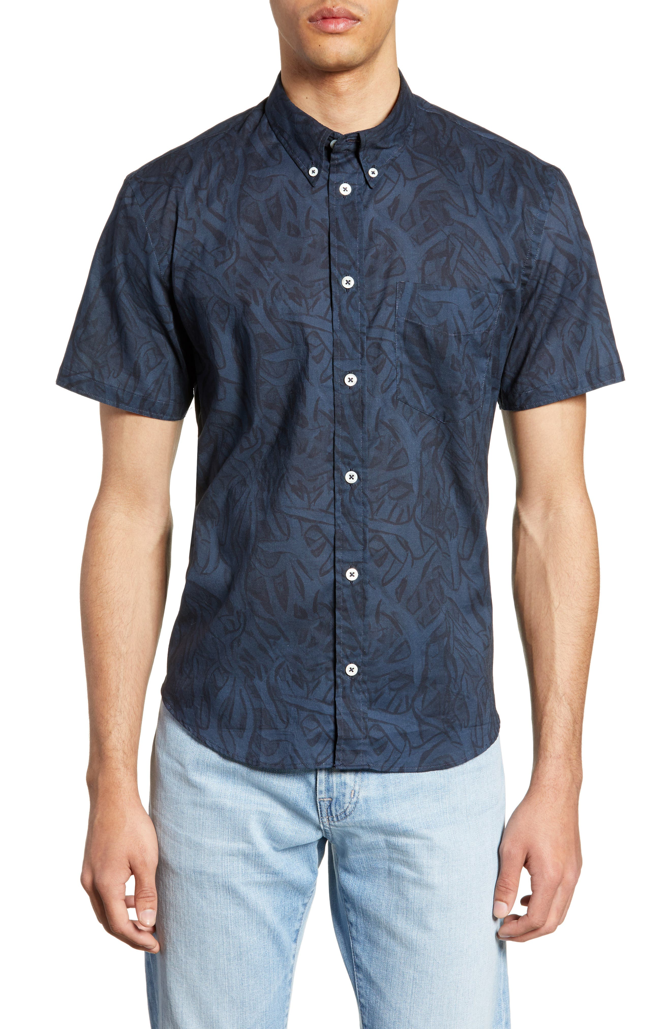 ,                             Kirby Antlers Slim Fit Woven Shirt,                             Main thumbnail 1, color,                             BLUE/ NAVY