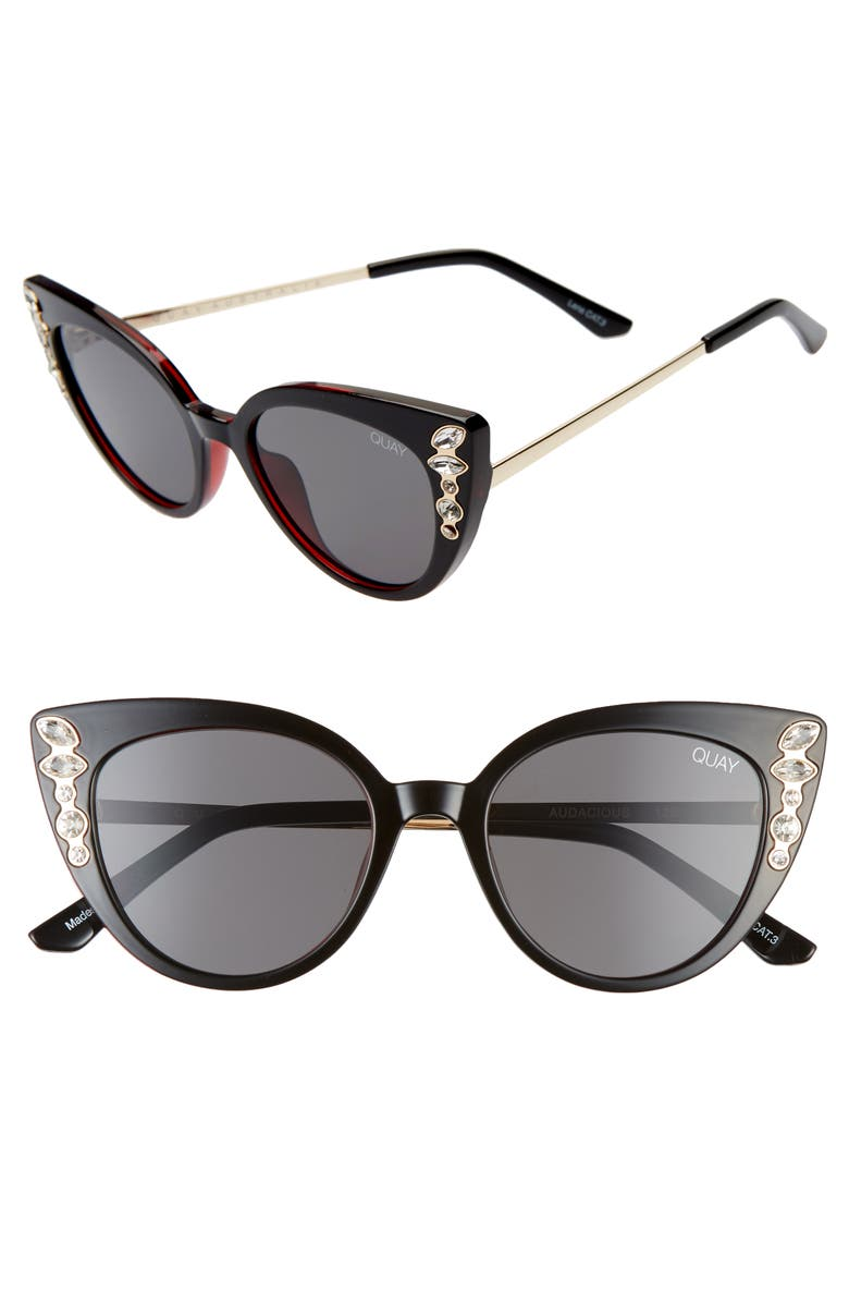 QUAY AUSTRALIA Audacious 52mm Cat Eye Sunglasses, Main, color, BLACK/ SMOKE