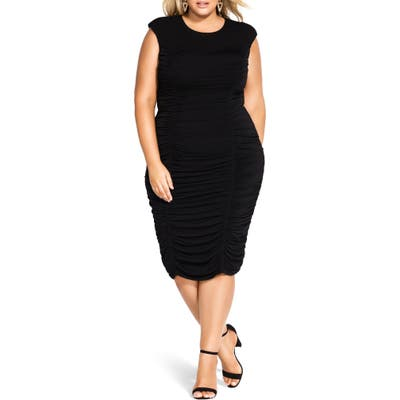 Plus Size City Chic Ruched Sheath Dress, Black