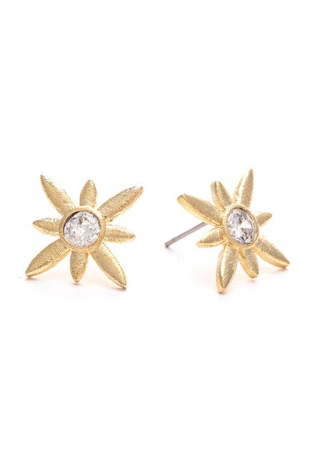 Image of Rivka Friedman 18K Gold Clad Satin CZ Burst Flower Stud Earrings