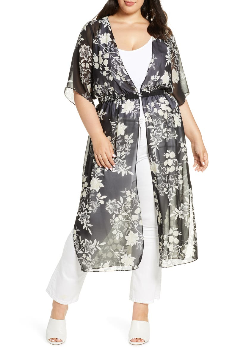 VINCE CAMUTO Floral Getaway Chiffon Duster, Main, color, RICH BLACK