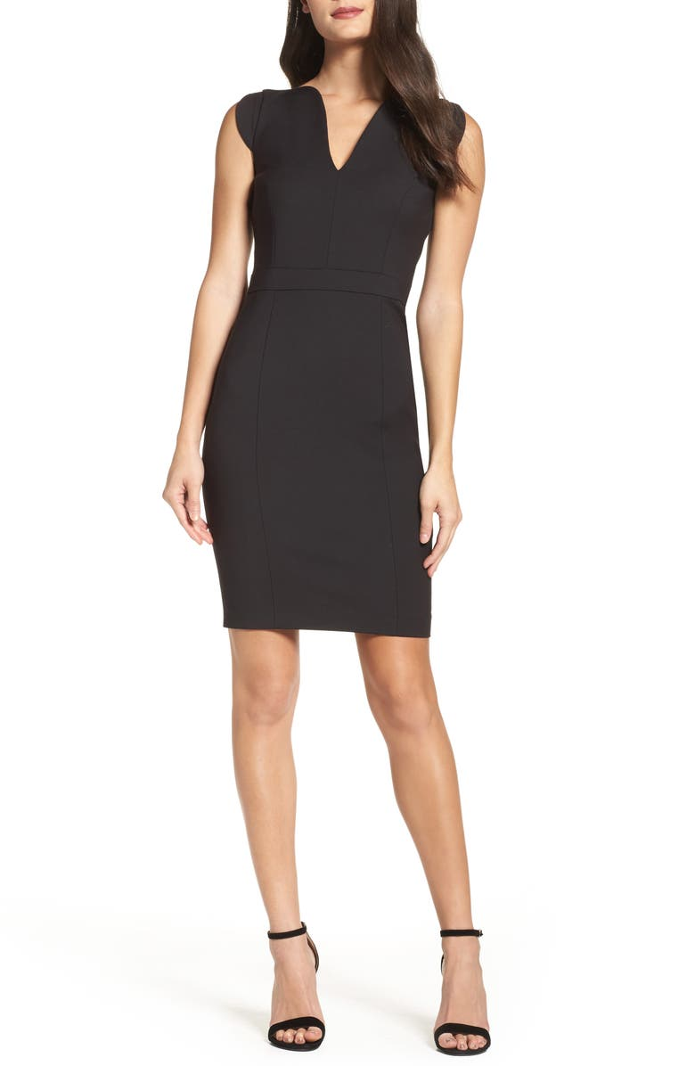 FRENCH CONNECTION 'Lolo' Stretch Sheath Dress, Main, color, BLACK
