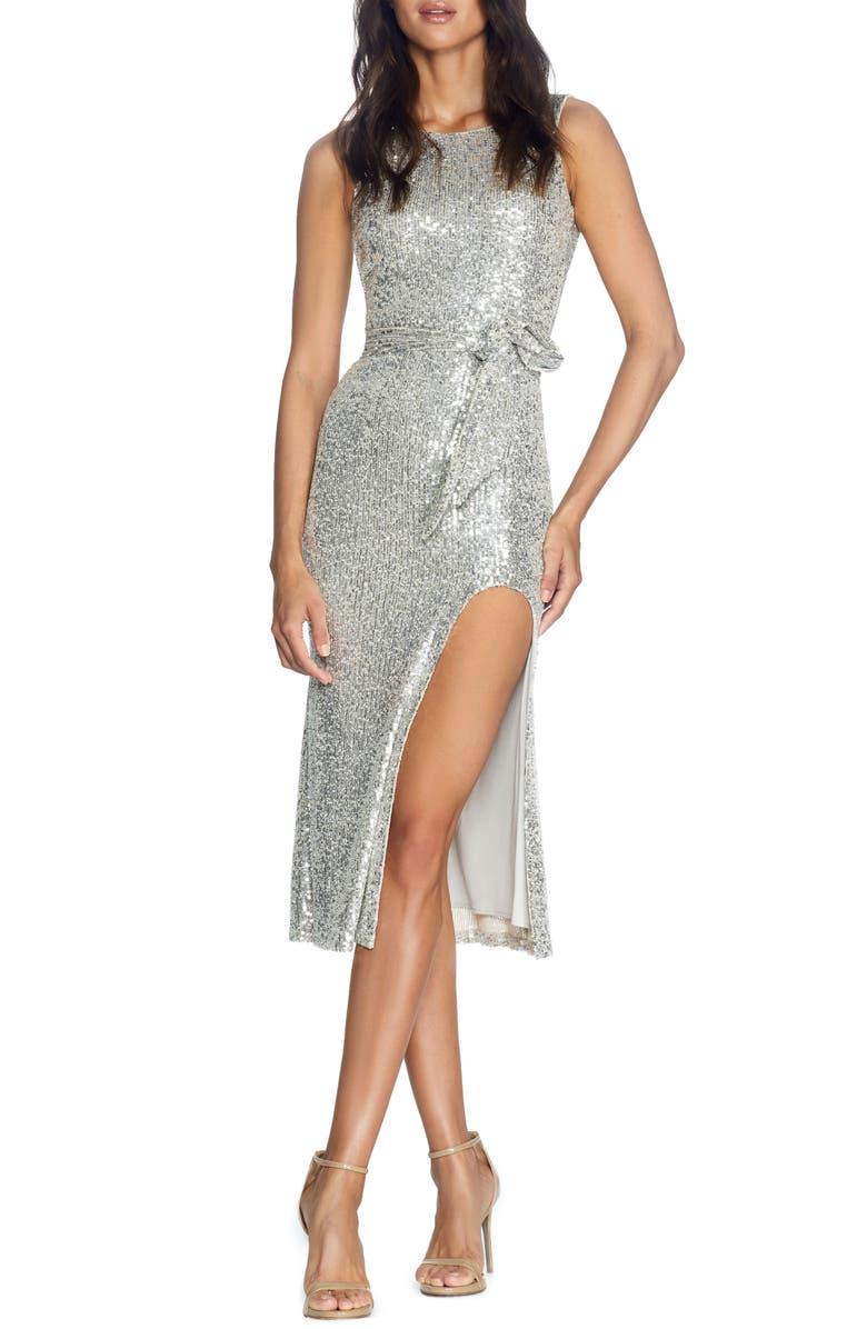 DRESS THE POPULATION Karlie Sequin Front Slit Cocktail Dress, Main, color, SILVER
