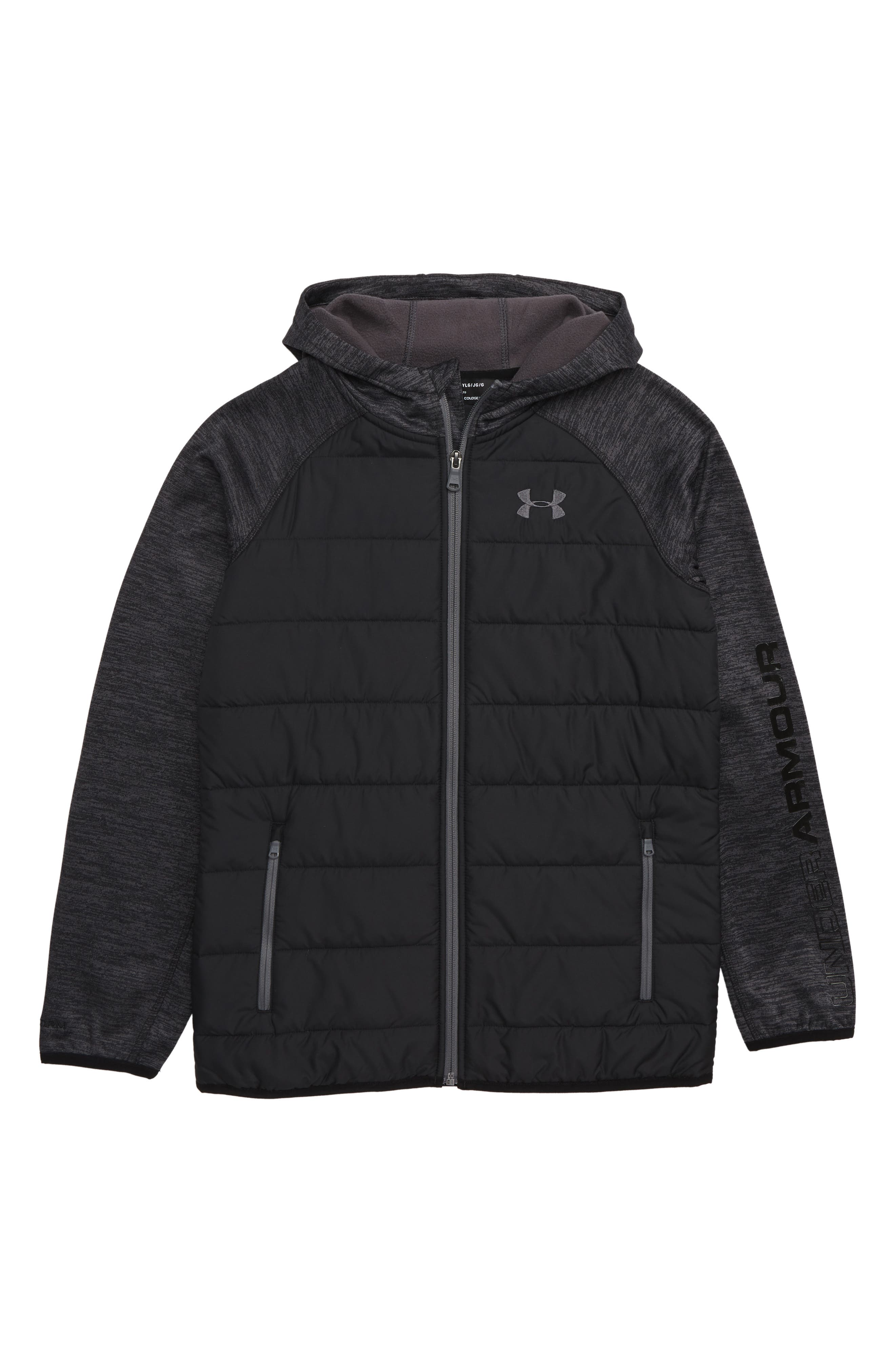 Day Trekker Water Resistant ColdGear<sup>®</sup> Hooded Puffer Jacket, Main, color, BLACK
