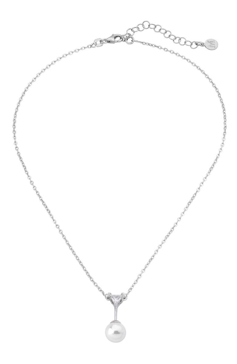 MAJORICA Satis 10mm Simulated Pearl Pendant Necklace, Main, color, 100