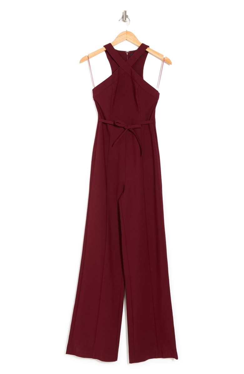 LIKELY Dash Bow Belted Halter Jumpsuit, Main, color, RHUBARB