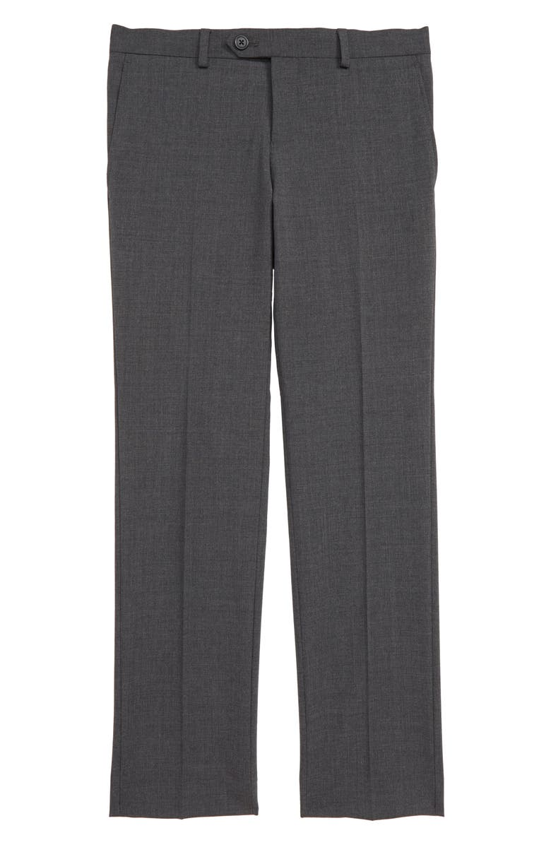 TALLIA Solid Wool Blend Flat Front Trousers, Main, color, GREY