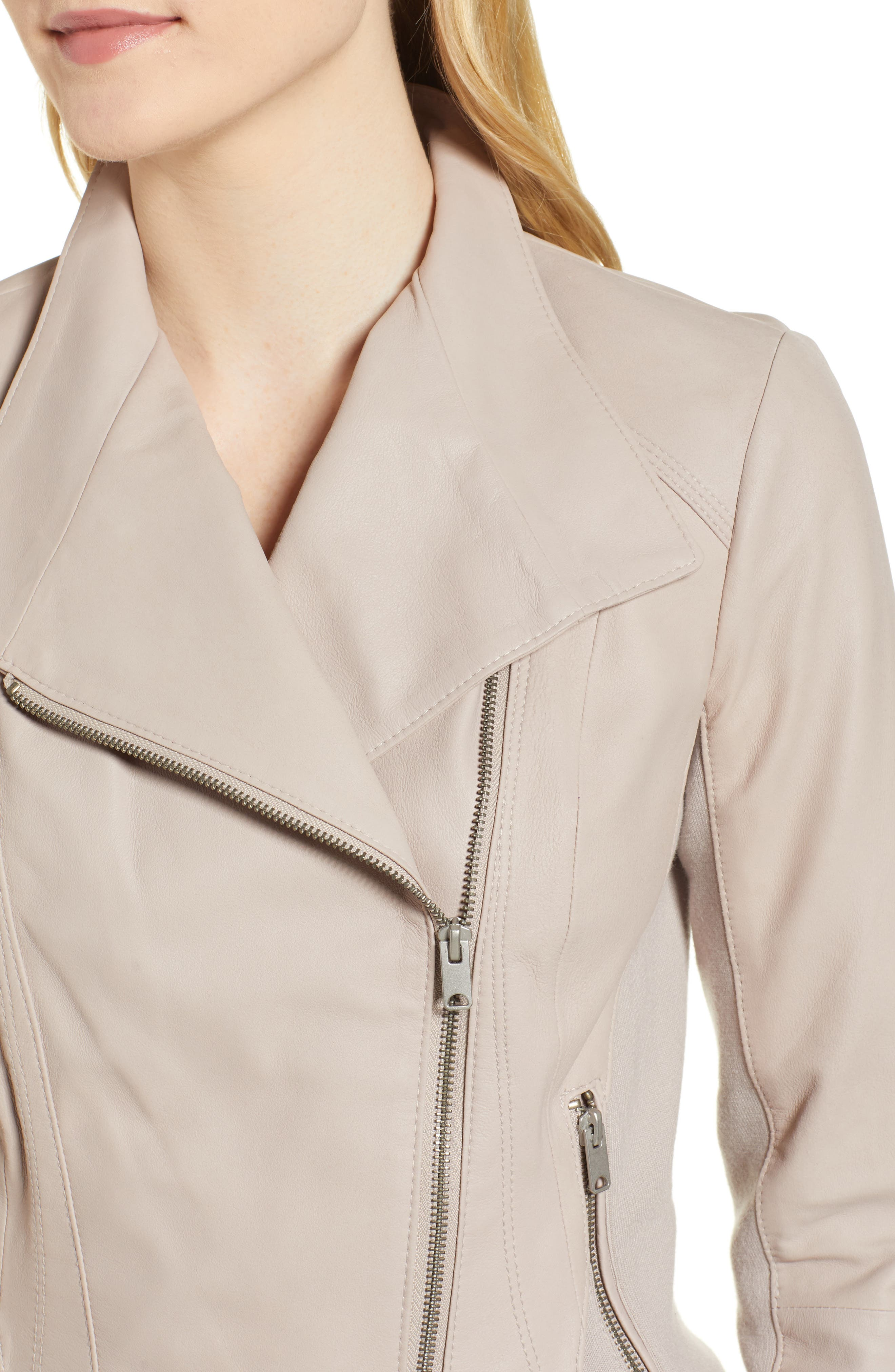 ,                             Marc New York by Andrew Marc Felix Stand Collar Leather Jacket,                             Alternate thumbnail 5, color,                             CEMENT