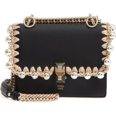 Fendi Small Kan I Leather Shoulder Bag - Black