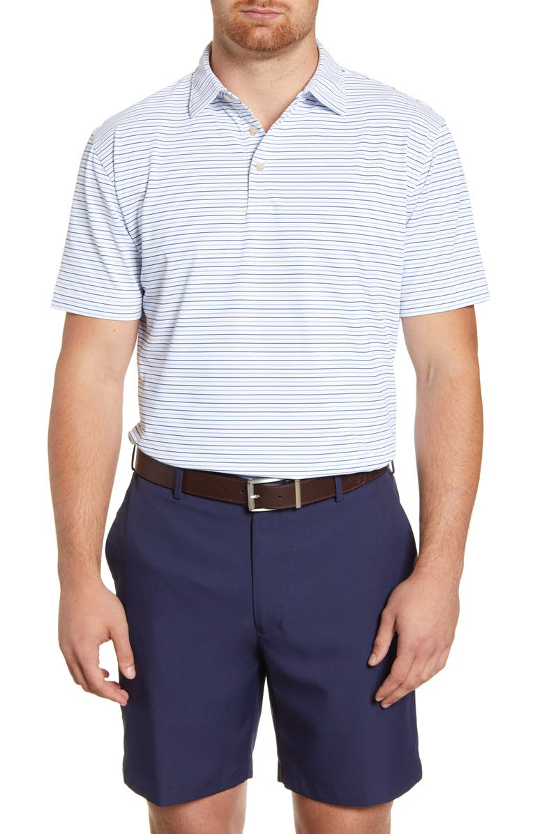 PETER MILLAR Peace Stripe Stretch Polo, Main, color, WHITE/ SUBM