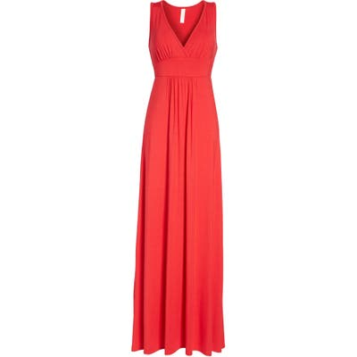 Petite Loveappella V-Neck Jersey Maxi Dress, Red