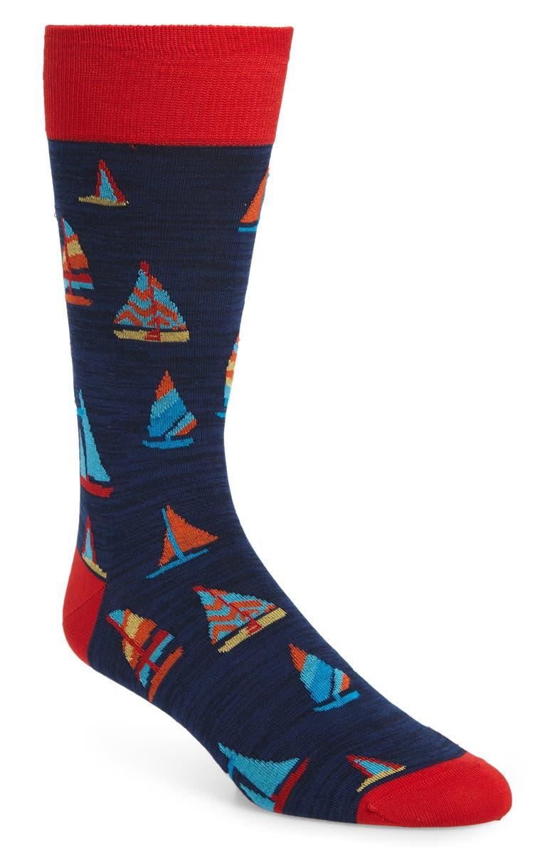 BUGATCHI Sailboat Socks, Main, color, 411