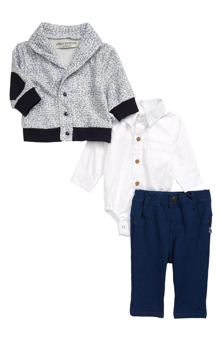 LITTLE BROTHER BY PIPPA & JULIE Bodysuit, Cardigan & Pants Set, Main, color, WHITE/NAVY