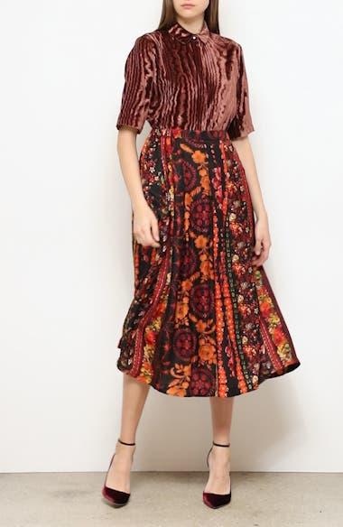 Roseanne Mandarine Floral Pleated Midi Skirt, video thumbnail