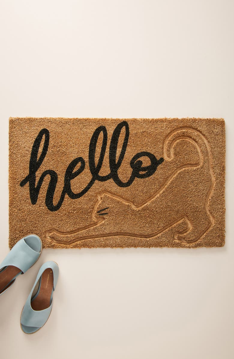 ANTHROPOLOGIE Stretching Cat Doormat, Main, color, TAN