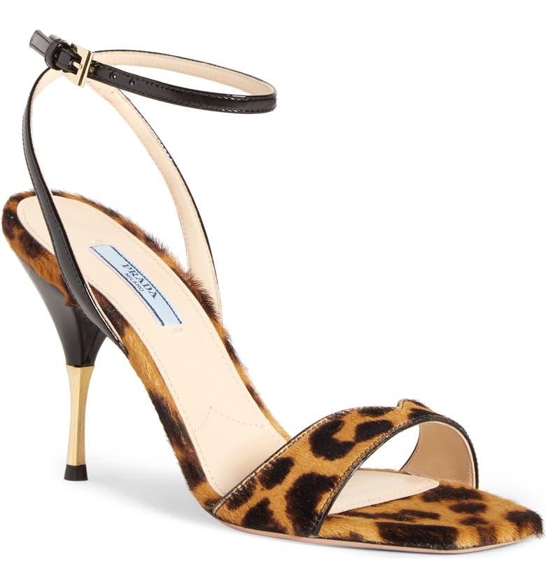 PRADA Golden Heel Sandal, Main, color, LEOPARD PRINT