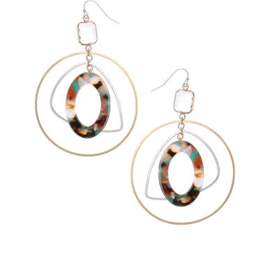 Nakamol Design Hoop, Triangle & Circle Drop Earrings