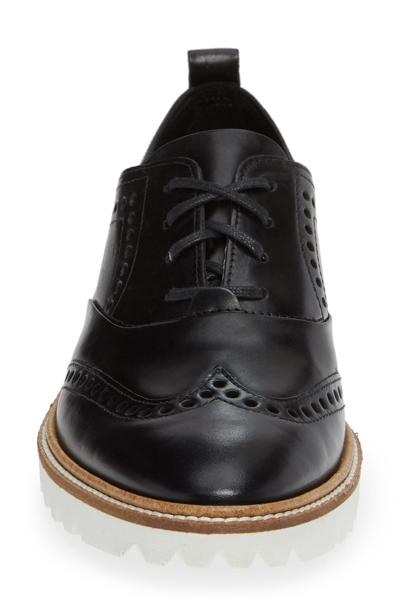 ,                             Incise Tailored Wingtip Oxford,                             Alternate thumbnail 4, color,                             BLACK LEATHER