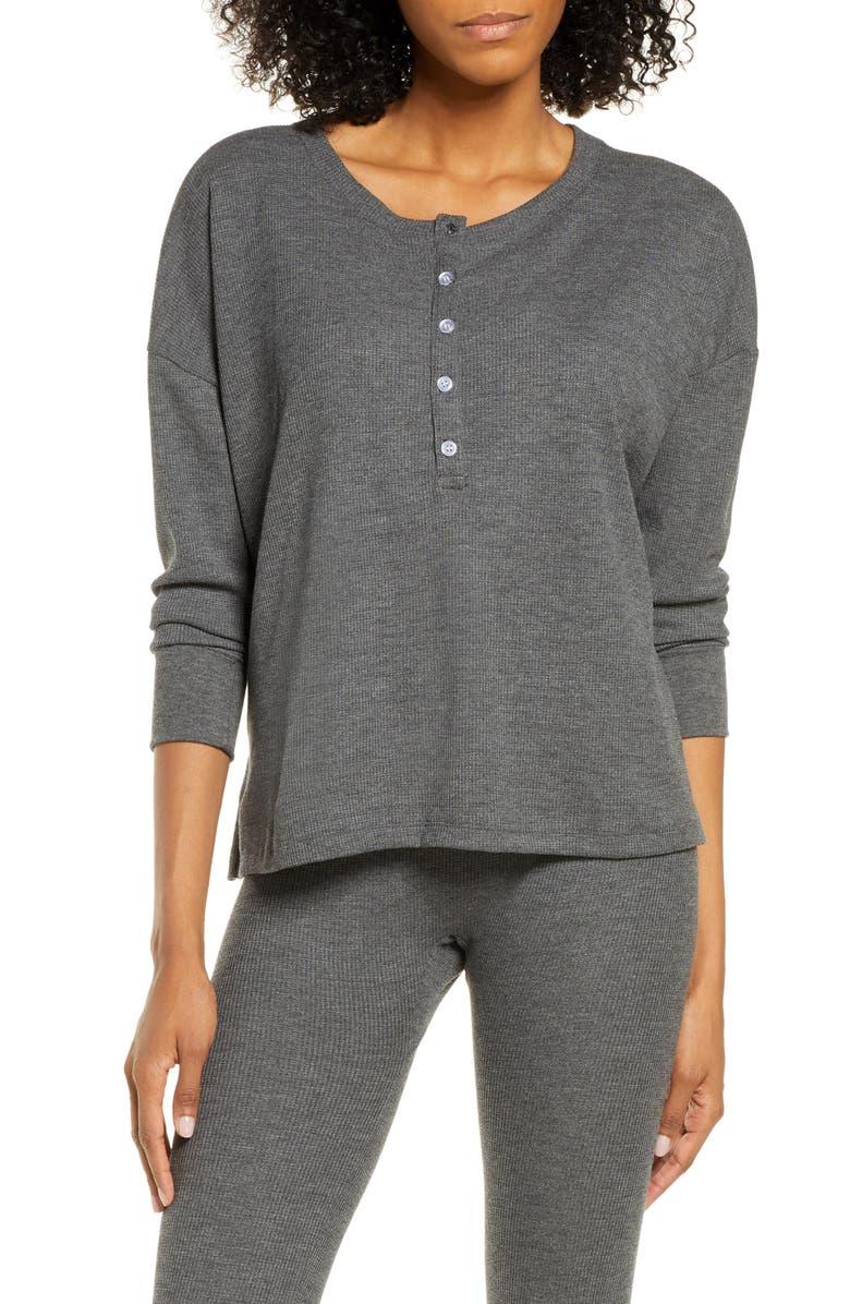 MAISON DU SOIR Courtney Thermal Pajama Top, Main, color, CHARCOAL