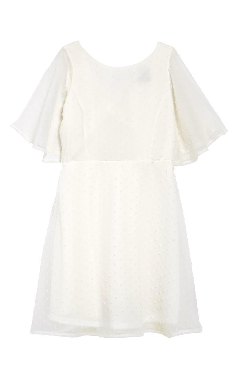 AVA & YELLY Swiss Dot Skater Dress, Main, color, IVORY