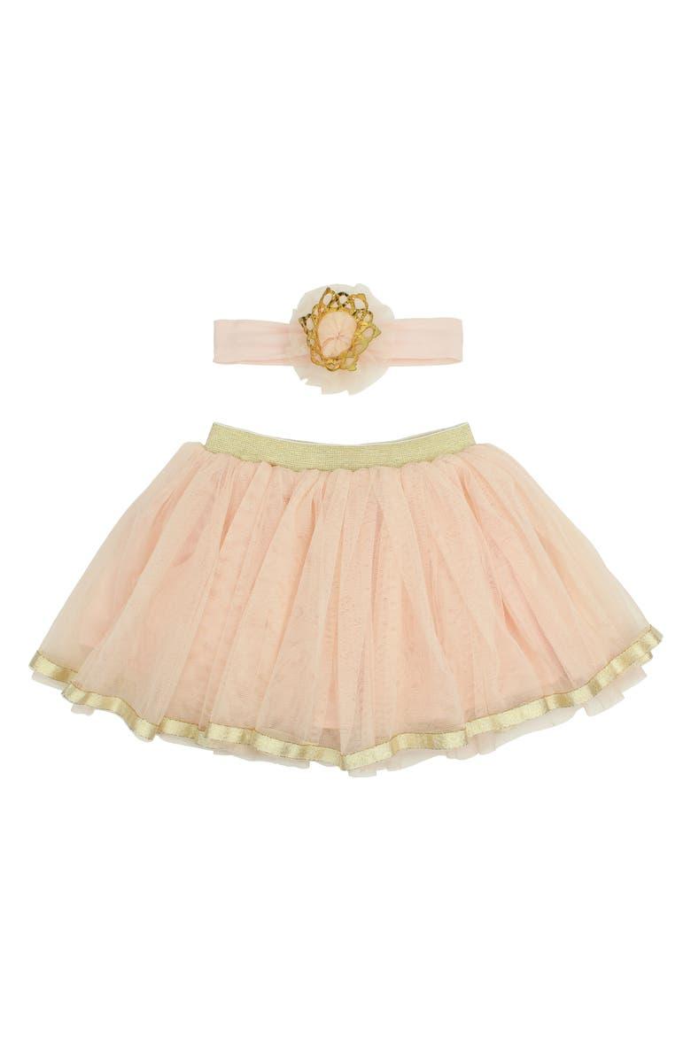 POPATU Tutu Skirt & Headband Set, Main, color, PEACH