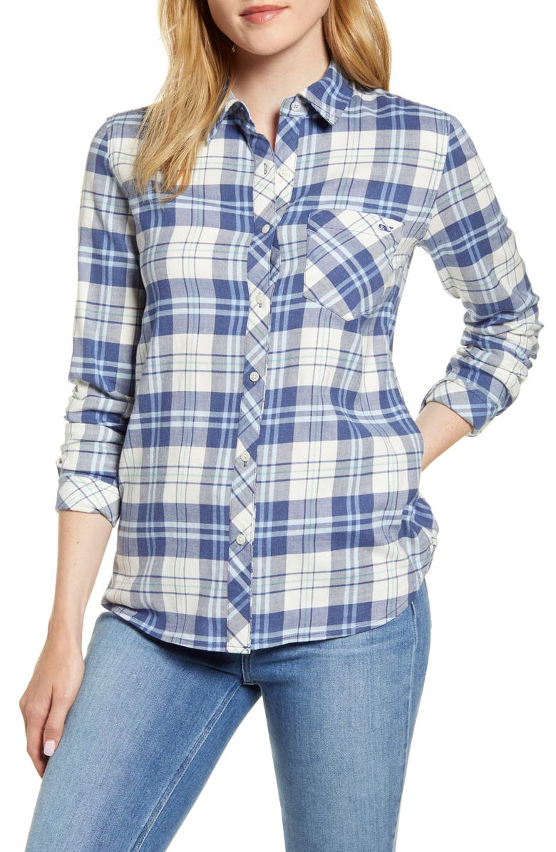VINEYARD VINES Pacific Plaid Relaxed Fit Stretch Cotton & Linen Shirt, Main, color, PLAID - MOONSHINE HEATHER