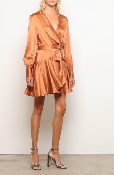 Super Eight Silk Long Sleeve Wrap Minidress, video thumbnail