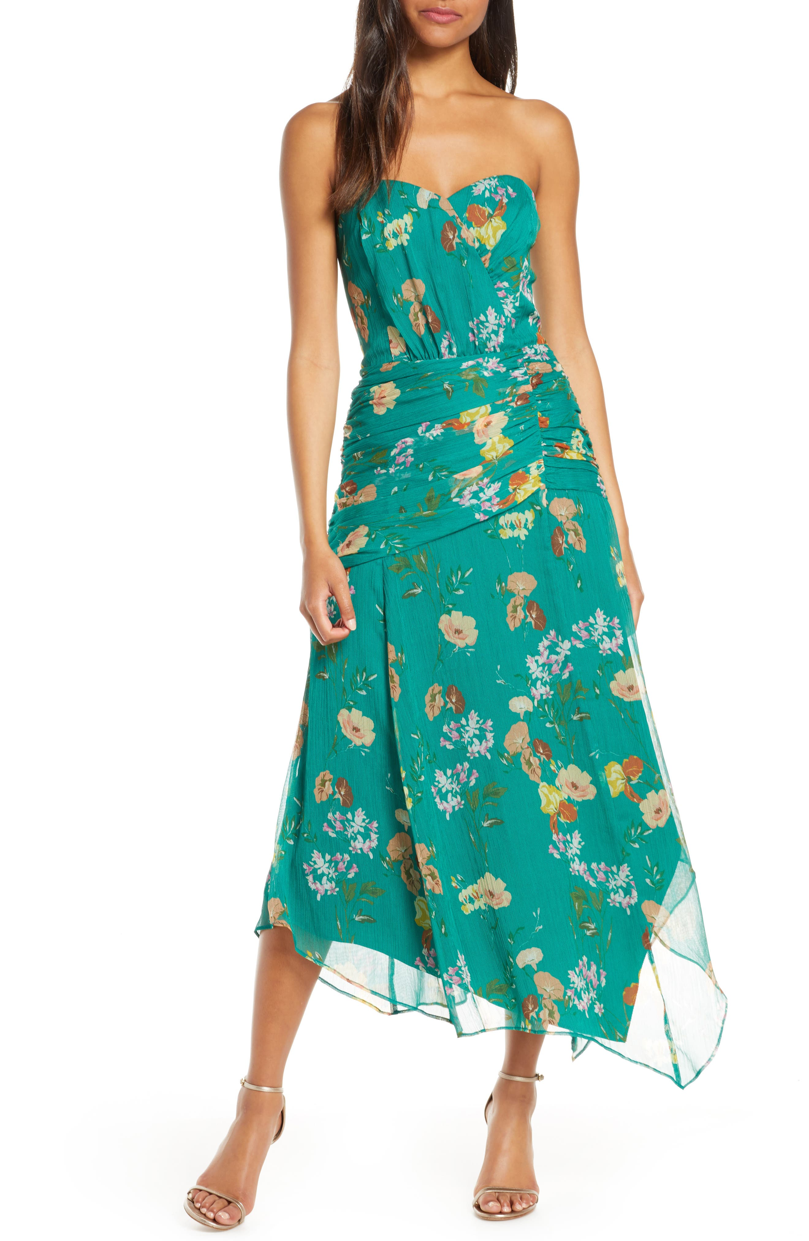 Harlyn Strapless Floral Midi Dress, Blue/green