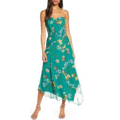 Harlyn Strapless Floral Midi Dress, Blue/green