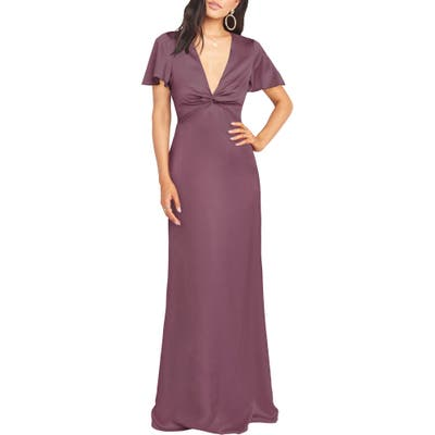 Show Me Your Mumu Rome Front Twist Plunge Gown, Purple