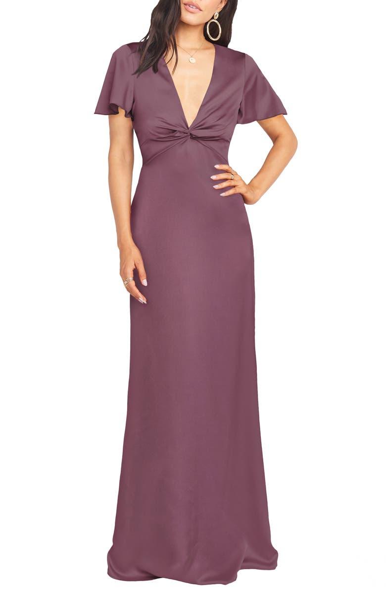 SHOW ME YOUR MUMU Rome Front Twist Plunge Gown, Main, color, DUSTY PLUM LUXE SATIN