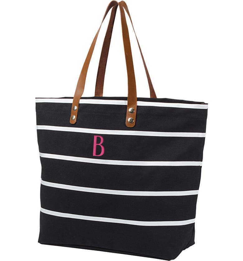 CATHY'S CONCEPTS Monogram Large Canvas Tote, Main, color, BLACK B